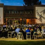 Outdoor dining at the Indian Pueblo Cultural center courtyard